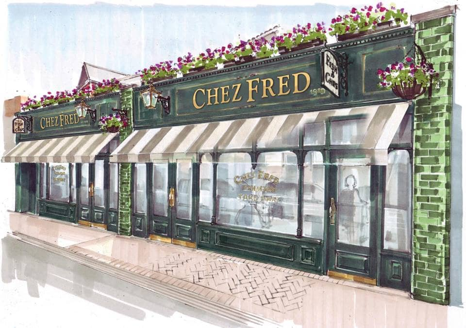 Exterior artwork of Chez Fred in Westbourne