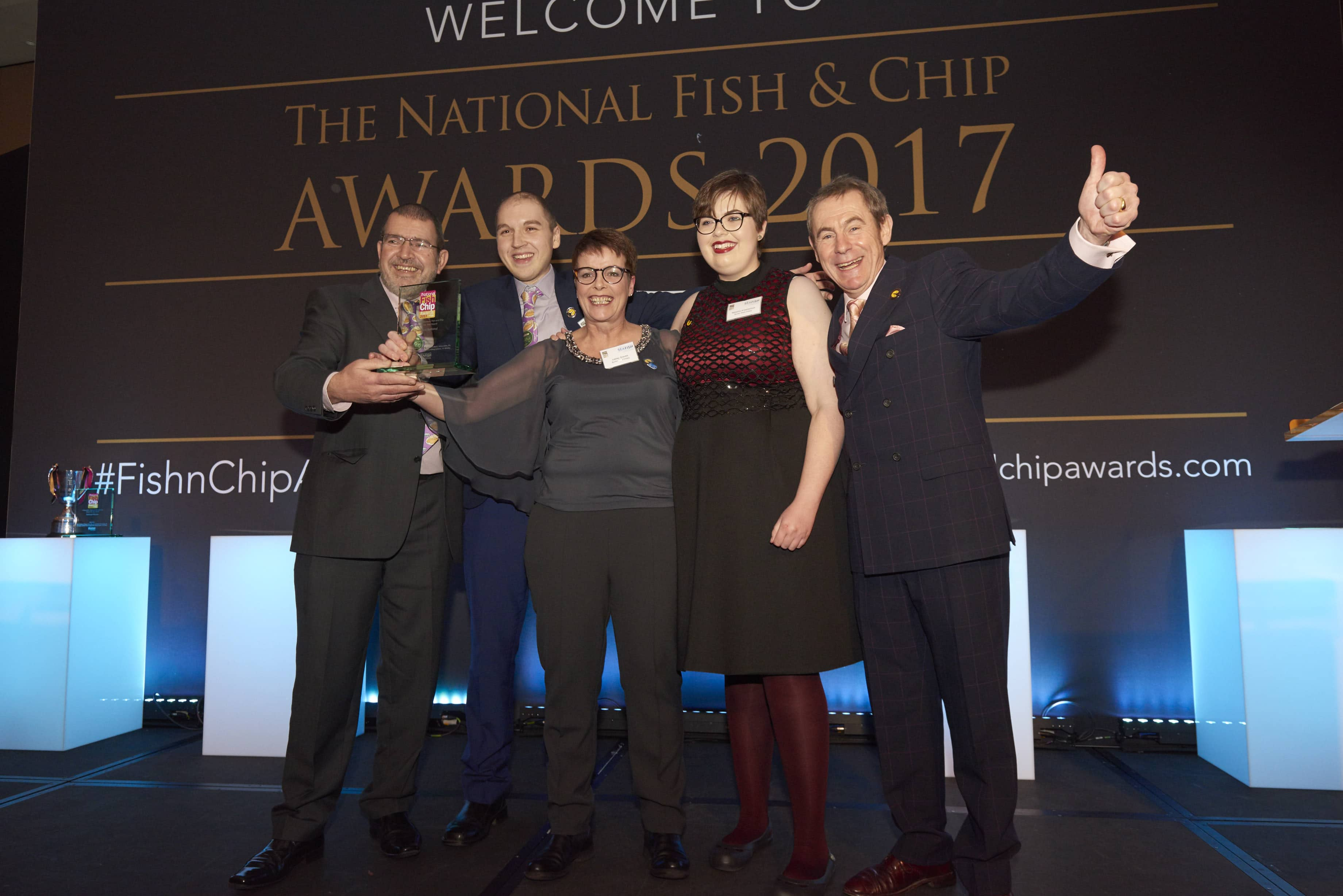 L-R Des and Dino Anastasiou, Lesley Graves and Tash Anastasiou - Burton Road Chippy - 2nd Place in the UK - Independent Takeaway Fish and Chip Shop of the Year