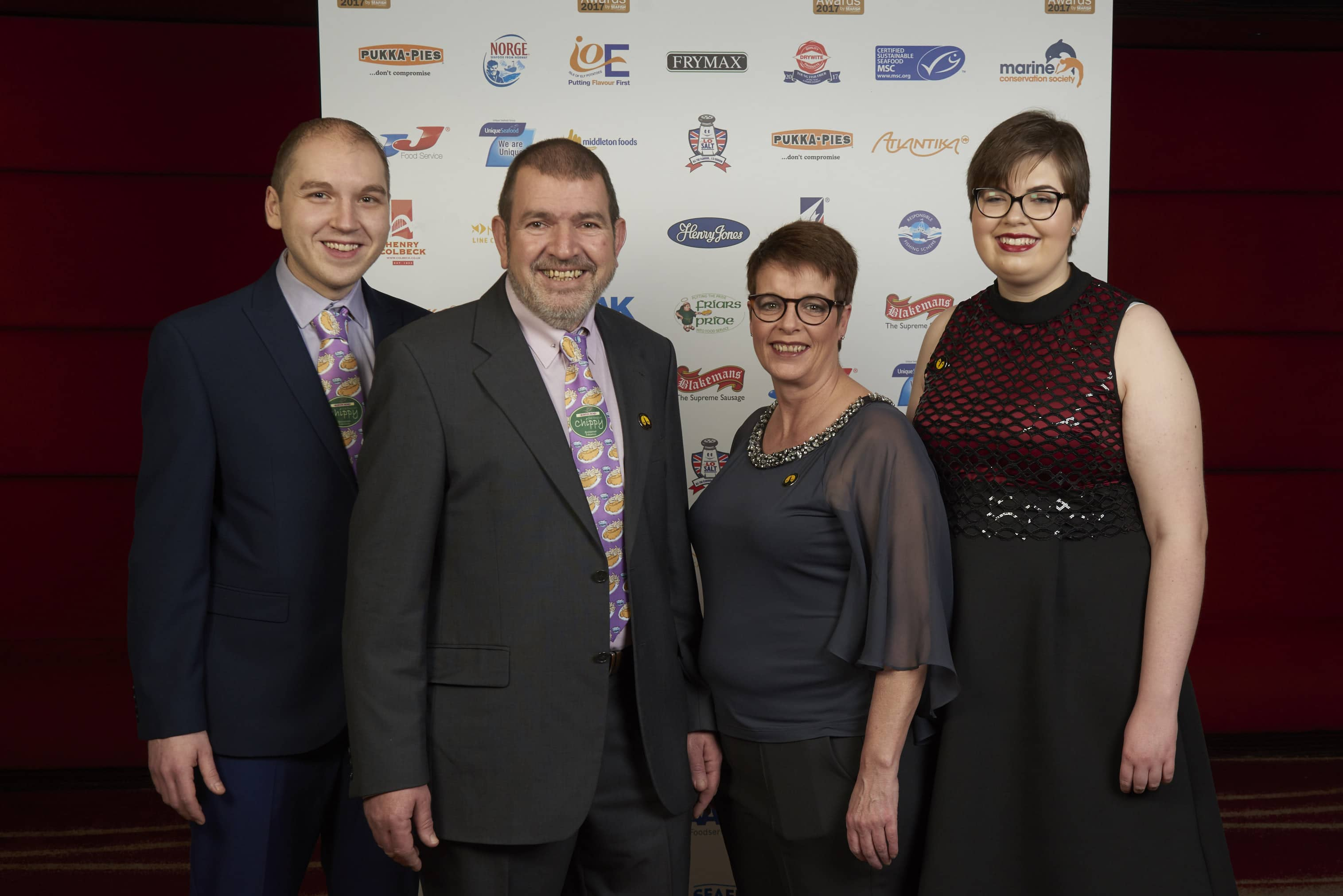 L-R Dino Anastasiou, Des Anstasiou, Lesley Graves & Tash Anastasiou - Burton Road Chippy - Eastern England regional winner - Independent Takeaway F&C Shop of the Year