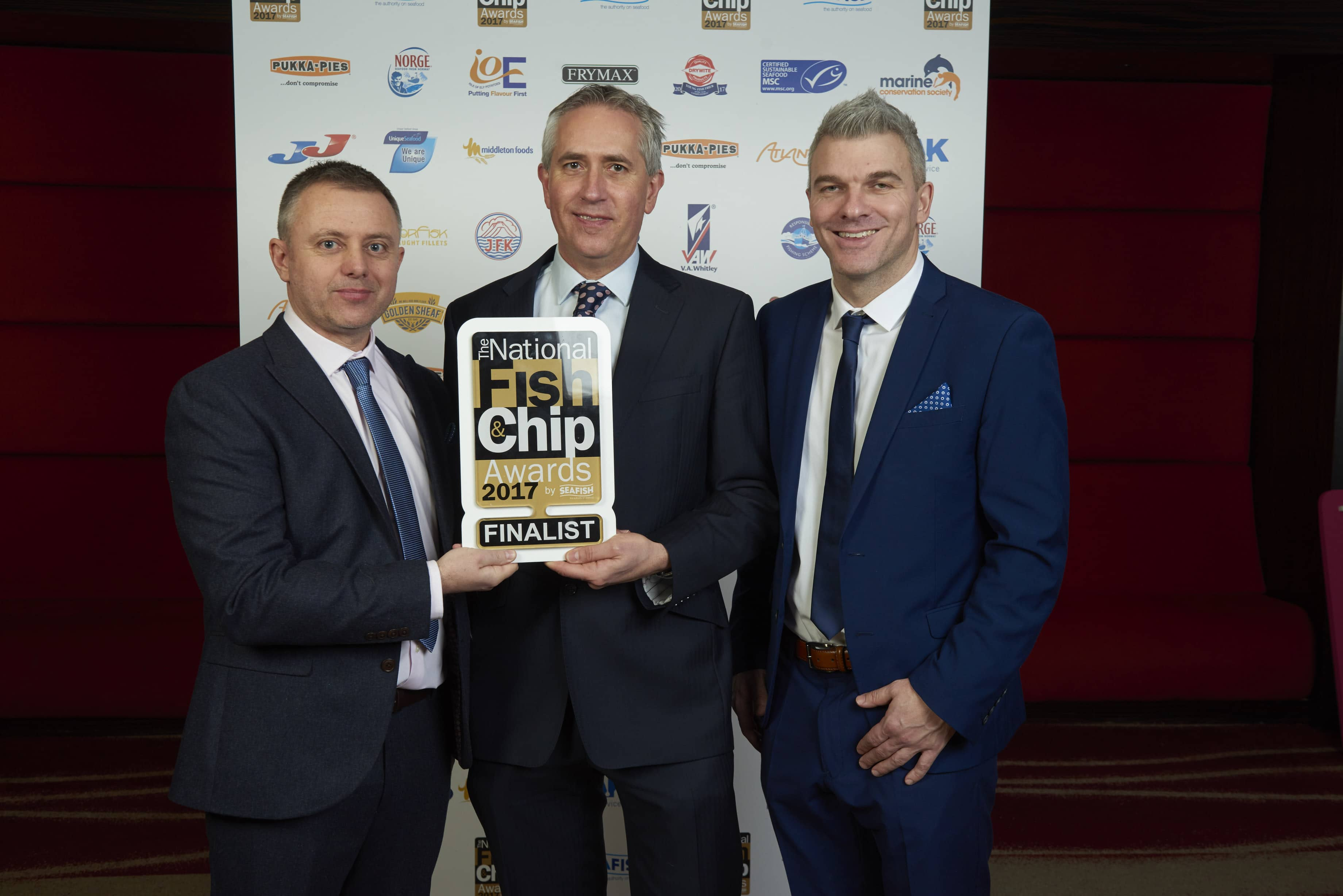 L-R Kevin Henderson, sponsor Andrew Marriott and Simon Walsh - Longsands Fish Kitchen - Best Newcomer Award Winners