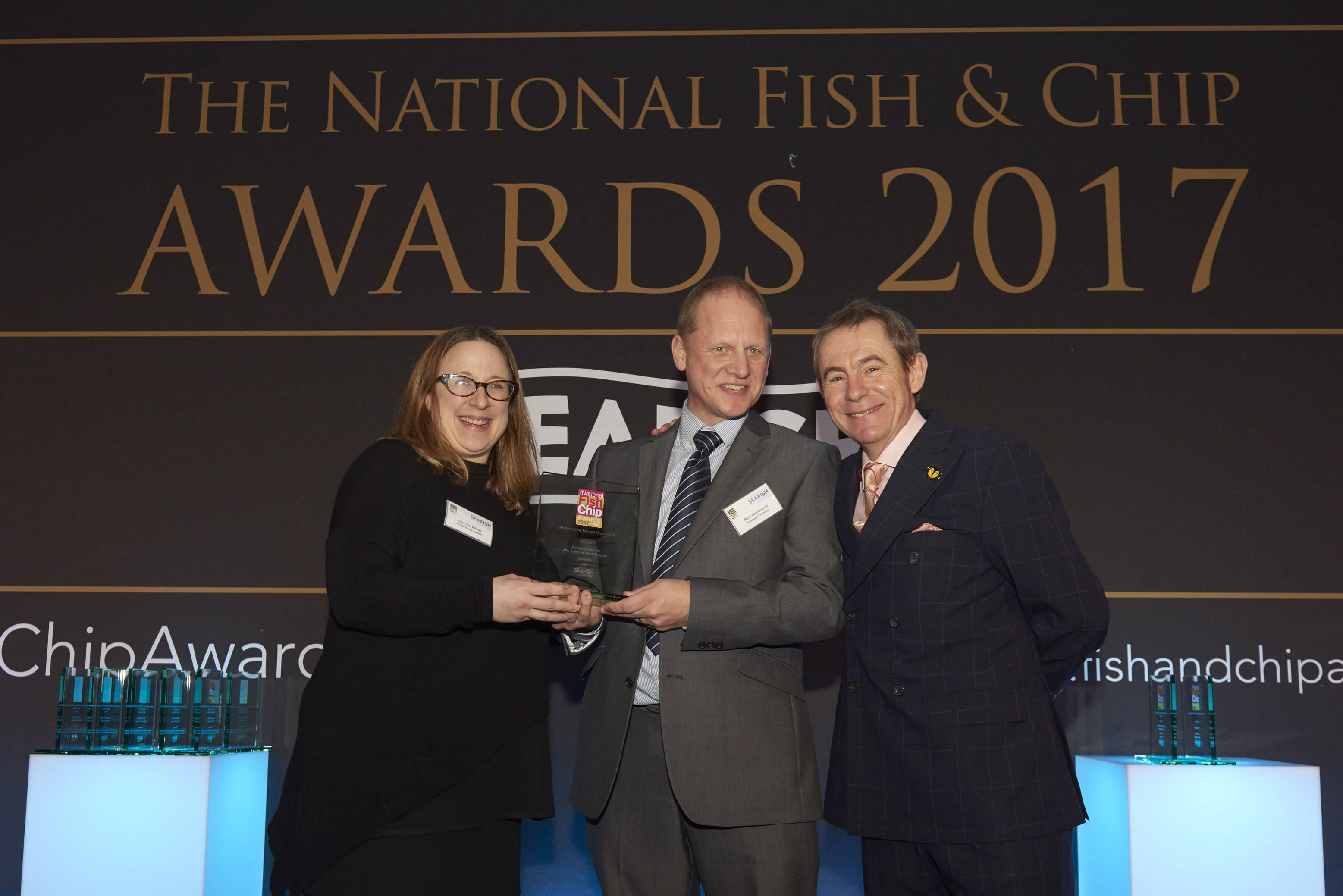 L-R Sponsor Caroline Klinge, Mark Drummond, Towngate Fisheries and Nigel Barden - Healthy Eating 'Fish and Chips' Award Winner