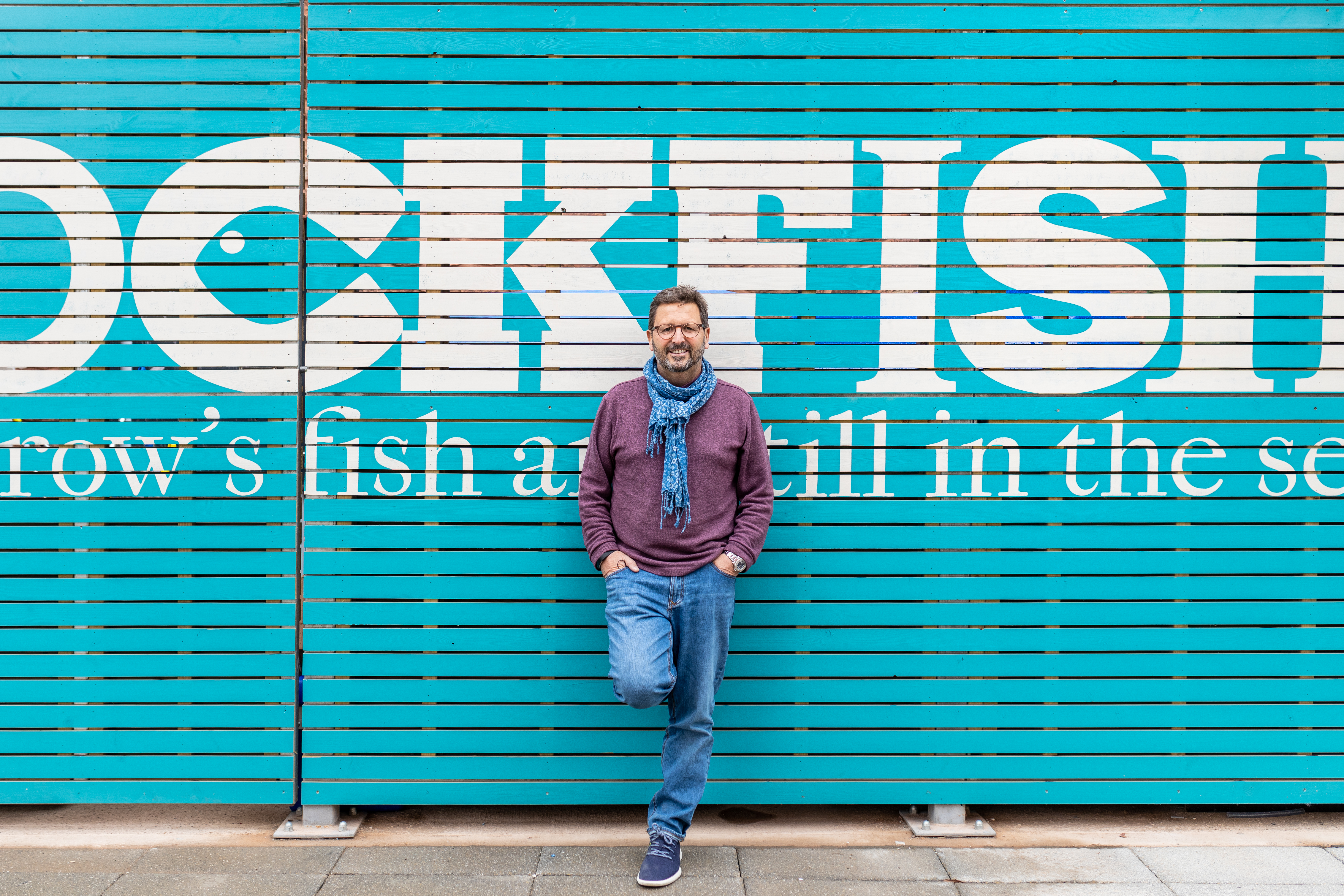 Mitch Tonks standing outside Rockfish Exeter before opening.